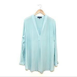 Eloquii Blue Popover V Neck Blouse Size 20